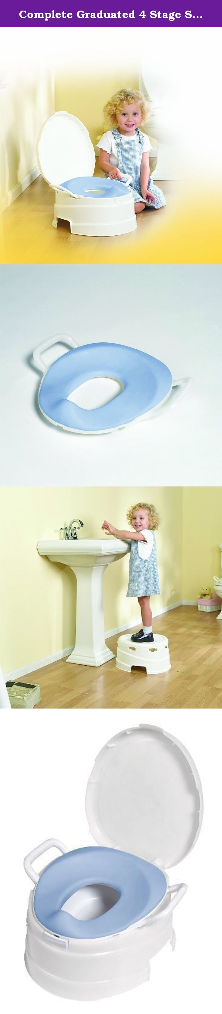 Complete Graduated 4 Stage Soft Seat Toilet Training System in White. PRIMO's 4 In 1 Soft Seat Toilet Trainer/Step Stool is a complete graduated 4 stage toilet training system. It follows your child through all of the stages of toilet training 1) beginning as a stand alone potty with an extra large easy to clean pot 2) graduating to the adult toilet with the PRIMO Soft Seat Reducer and step stool 3) using the step stool to reach the bathroom sink to clean hands 4) traveling with the PRIMO...