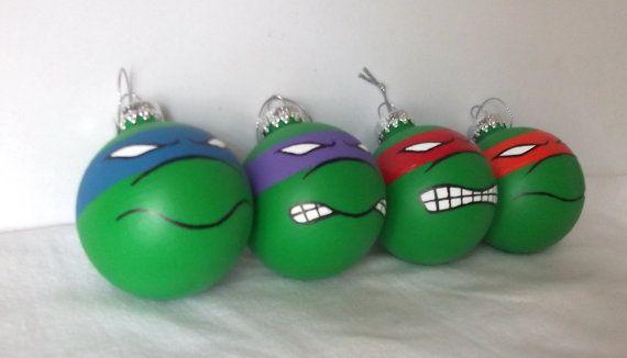Main de tortues Ninja TMNT peint ornement Set de 4  par GingerPots