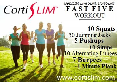 CortiSLIM Fast Five Minute Workout @Sue Meyer