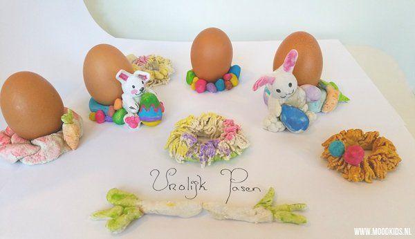 Laat je kinderen eierdopjes maken voor pasen. Met brooddeeg maak je de leukste creaties. We hebben 4 leuke ideeën op een rij gezet.