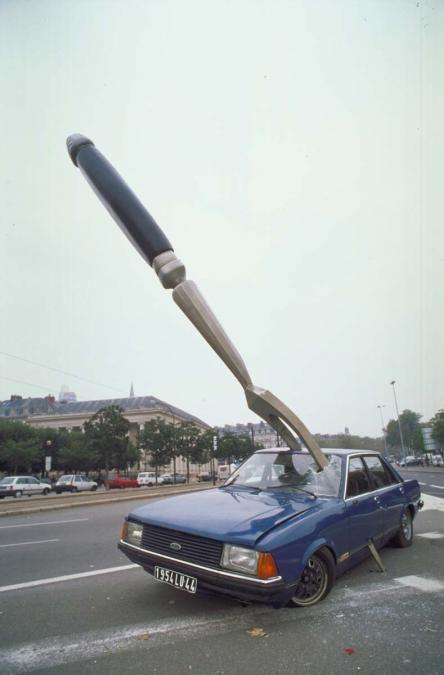 Embouteillage - Fourchette dans voiture bleue - Ville de Nantes 3