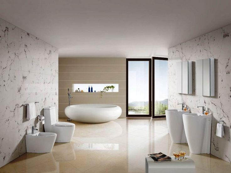 [Bathroom] : Elegant And Modern Design Idea Bathroom With Porcelain Circle Free Standing Bath Tub Plus Modern Faucets Couple Pedestal Sinks Plus Modern Faucets Double Porcelain Toilet Seat And Towel Bars Tile Flooring Wall Motive Tile