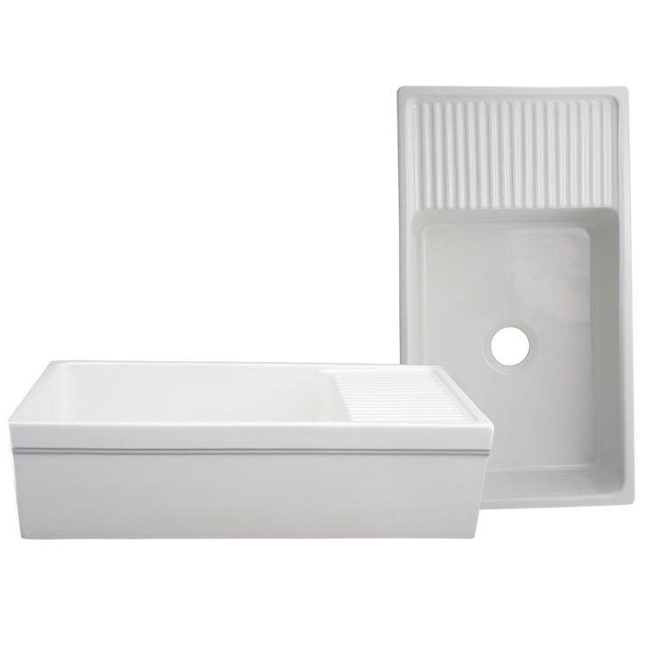 Whitehaus Quatro Alcove Farmhaus Reversible Fireclay Farmhouse Kitchen Sink with Drain Board - Farmhouse Sinks - Kitchen Sinks - Kitchen