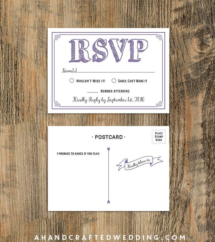 10 rsvp postcard lavender sample diy rsvp postcard template ahandcraftedwedding wedding. Black Bedroom Furniture Sets. Home Design Ideas