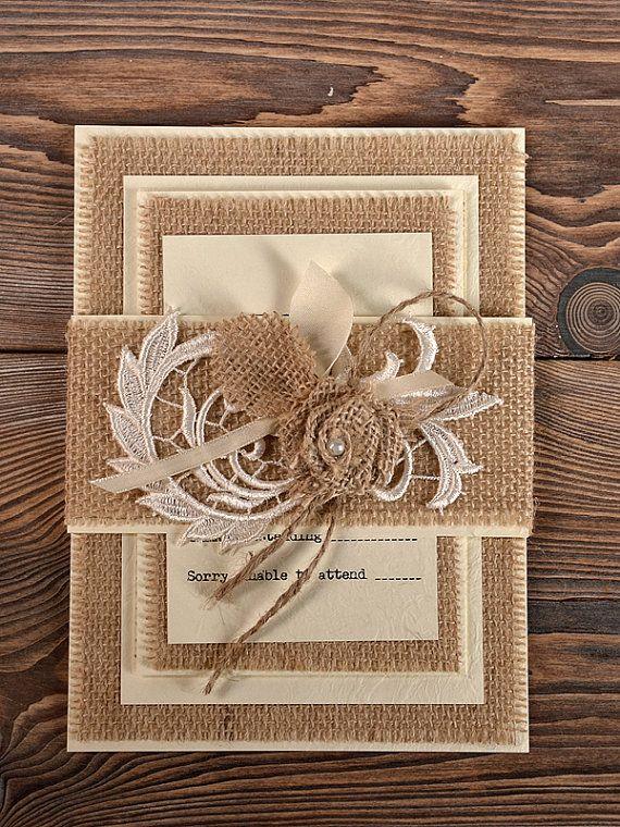 Lace  Wedding Invitation, County Style Wedding Invitations,  Rustic Wedding  Invitations on Etsy, $8.57 CAD