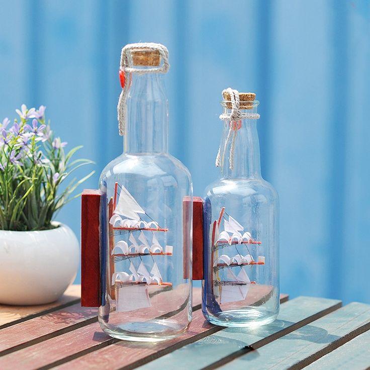 Glass Saling Boat in Drift Bottle Mediterranean Style Beer bottles Model Wishing Bottle Creative Gifts
