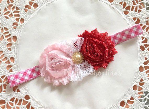 Laced flower Gingham Baby Headband by MylittleshopFinds on Etsy
