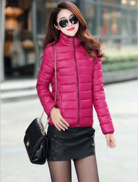 Winter Jacket Coat Women 2017 New Winter Women Parka Short Slim Thickening Down Cotton-padded Jacket Female Outerwear Black Red