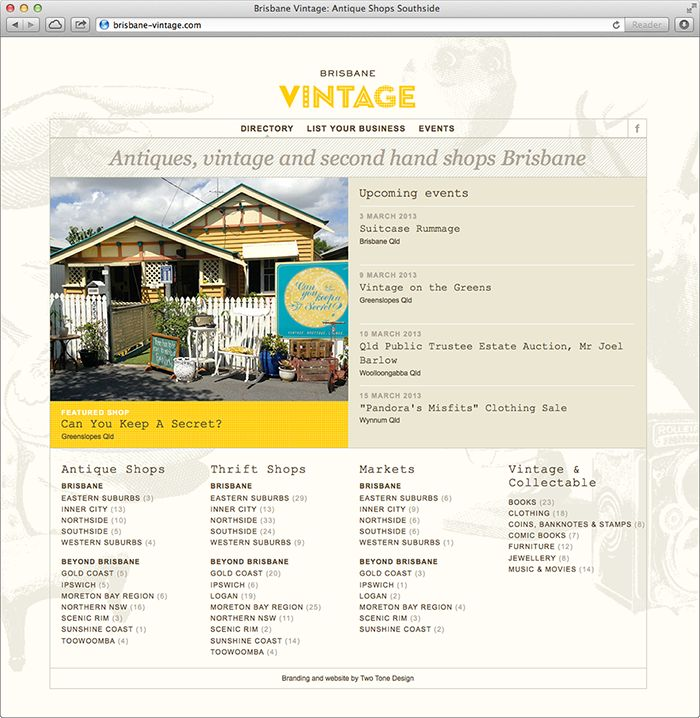 Brisbane Vintage website by Two Tone Design