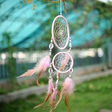 Индия стиль автомобиля ручной розовый ловца снов круговой чистая с перьями висячие украшения декор украшение оболочки(China (Mainland))