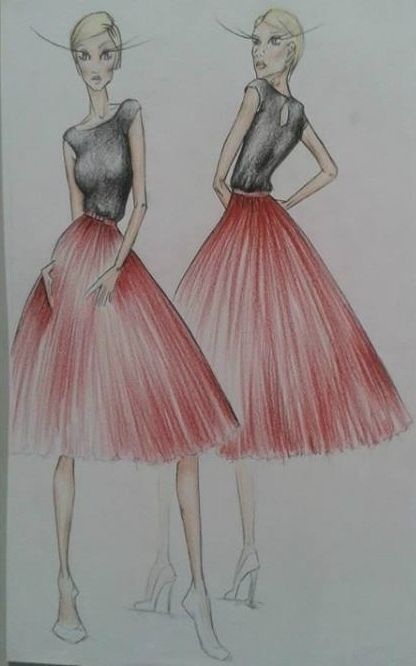 Illustration for a Molteno client for her Vegas wedding #wedding #vegaswedding #drawing #illustration #red #black #simple #tulle #skirt #capetown #southafrica #moltenocreations. Check out our blog on the Molteno Creations client who we interviewed about her Wedding day and her experience Rose Molteno. #blog  #interview