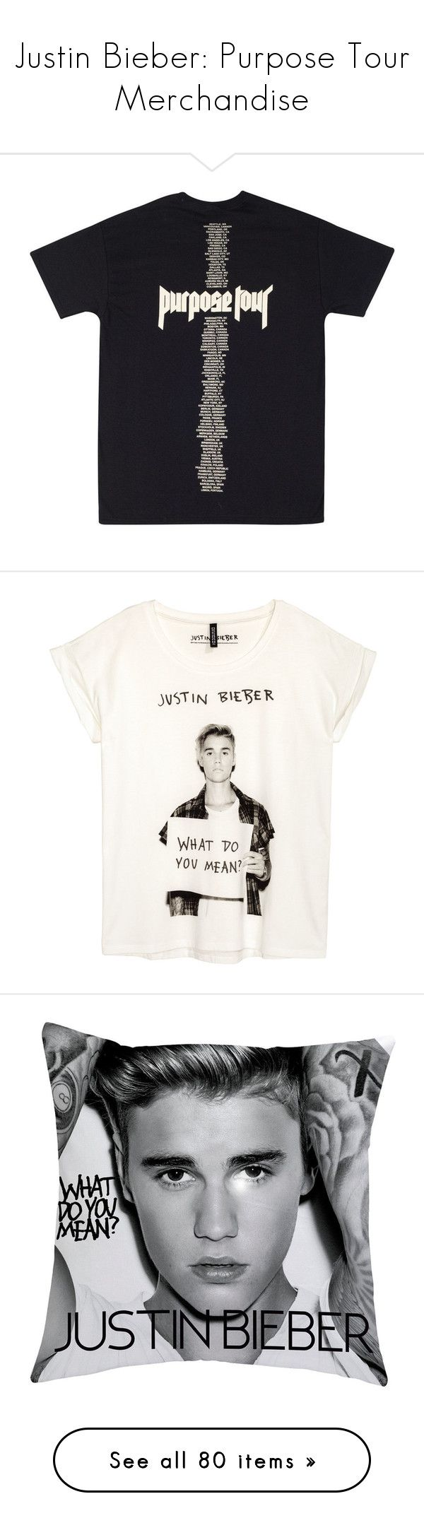"""Justin Bieber: Purpose Tour Merchandise"" by eri-johana ❤ liked on Polyvore featuring tops, t-shirts, short sleeve tops, pattern t shirt, short sleeve t shirts, white t shirt, white jersey t shirt, men's fashion, men's accessories and men's hats"
