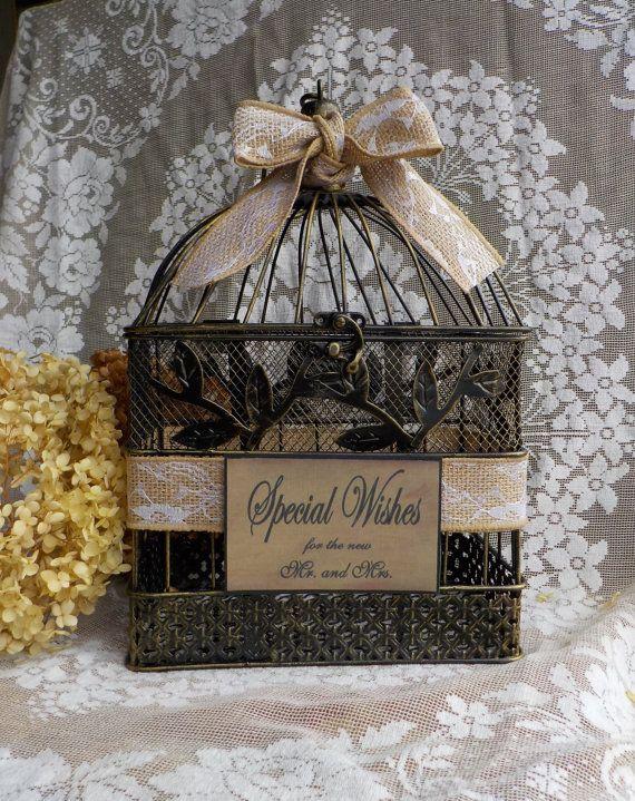 Rustic Shower Card Holder Bird Cage  Wedding Well by Twenty3Design