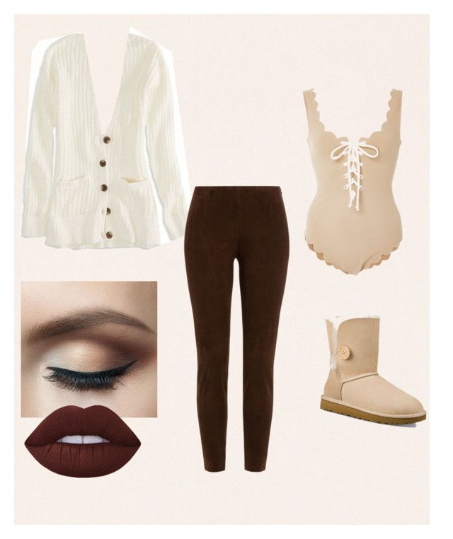 """""""Styling uggs"""" by queenvivianne on Polyvore featuring Graham & Brown, American Eagle Outfitters, UGG Australia, Marysia Swim, Ralph Lauren Black Label and Lime Crime"""