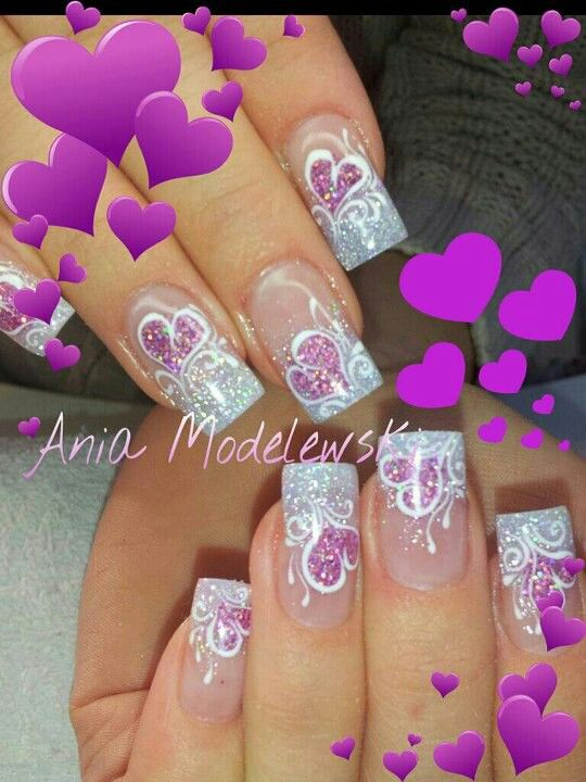 Glitter French mani with pink hearts Valentine's Day or wedding nails