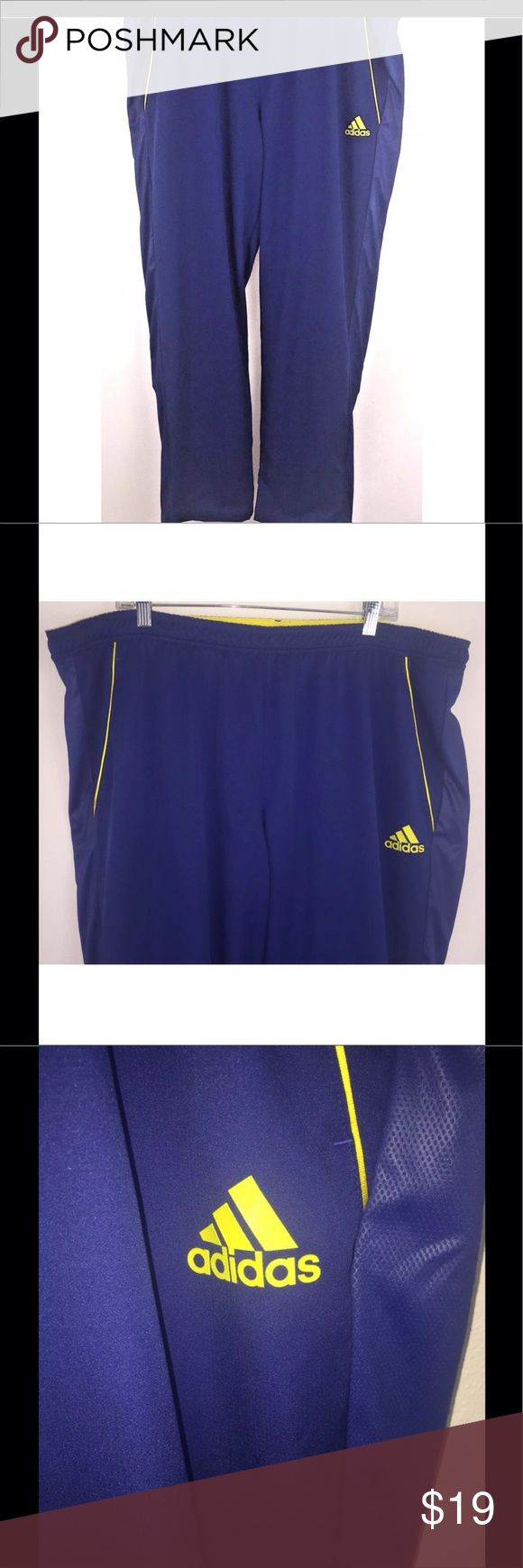 "Adidas Men's Barricade Track Pants Size XXL 2XL Adidas Barricade Track Pants Zipper Cuffs Royal Blue Yellow Climalite Mens 2XL  Stretchy elastic waist with drawstring inside Fully lined Zippered ankles 2 large side pockets Length of zippers at ankles 12"" Excellent, gently used condition - no flaws noted Approximate measurements: Waist 22"" across Inseam 33.5"" Rise 13"" adidas Pants Sweatpants & Joggers"