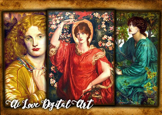Digital collage sheet vintage paintings instant download card