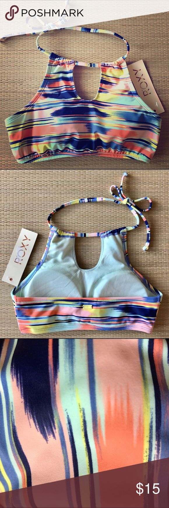 Roxy Bikini Halter Top Super cute Roxy Bikini halter top. New with tags, never worn! Sorry, no trades. Roxy Swim Bikinis