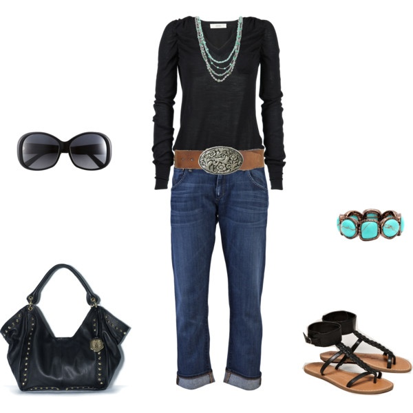 The simplicity of this outfit is the whole attraction to it.: Belts Buckles, Colorado Afternoon, Bracelets, Clothing, Fall Outfits, Sandals, Archimedes16 Polyvore Com, Black, My Style