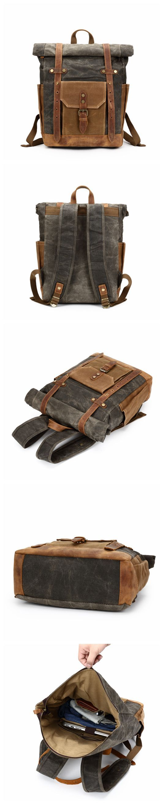 Waxed Canvas Backpack, Rucksack, Travel Backpack 8808