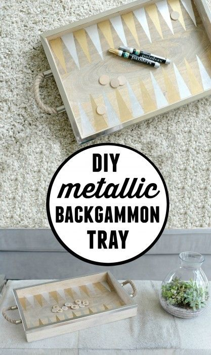 Just a tray from Target! She gives a full tutorial of how to turn it into a DIY backgammon board