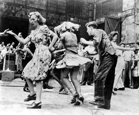 Lindy hop dancers,c. 1940s