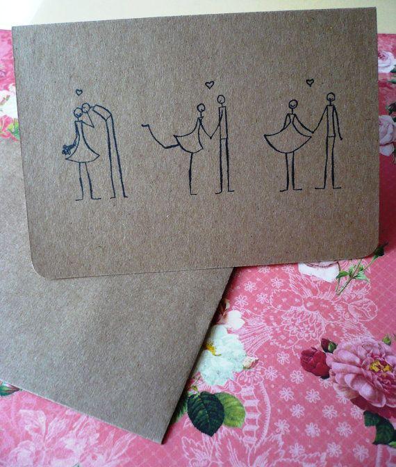 wedding card - easy draw and so cute!