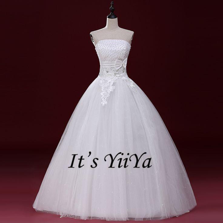 Free Shipping 2017 Strapless Sleeveless Cheap off White Wedding Dresses Princess Cheap Bride Ball Gowns Vestidos De Novia A-062
