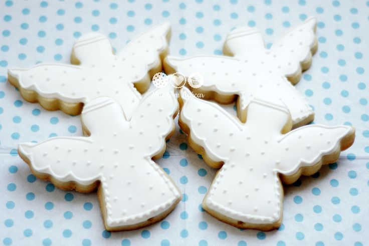 Biscoitos decorados de Anjos para Batizado - Christening Angel Decorated Cookies