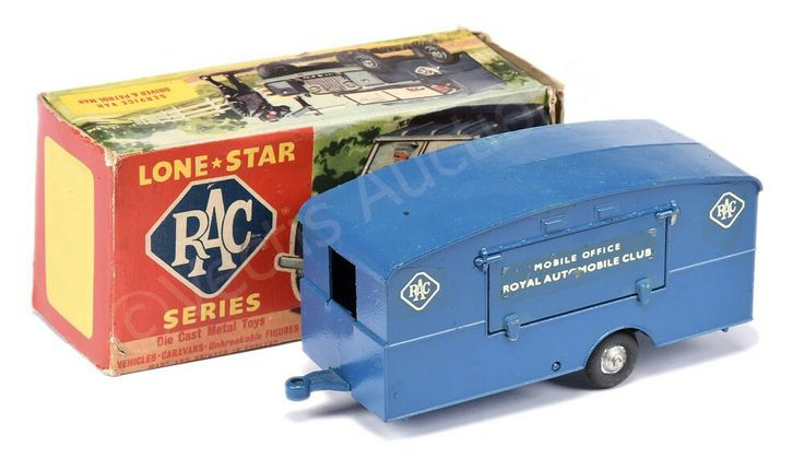 "Lonestar ""RAC"" Mobile Caravan - blue, silver hubs - Good Plus, still a bright example - in Fair to Good carded picture box."