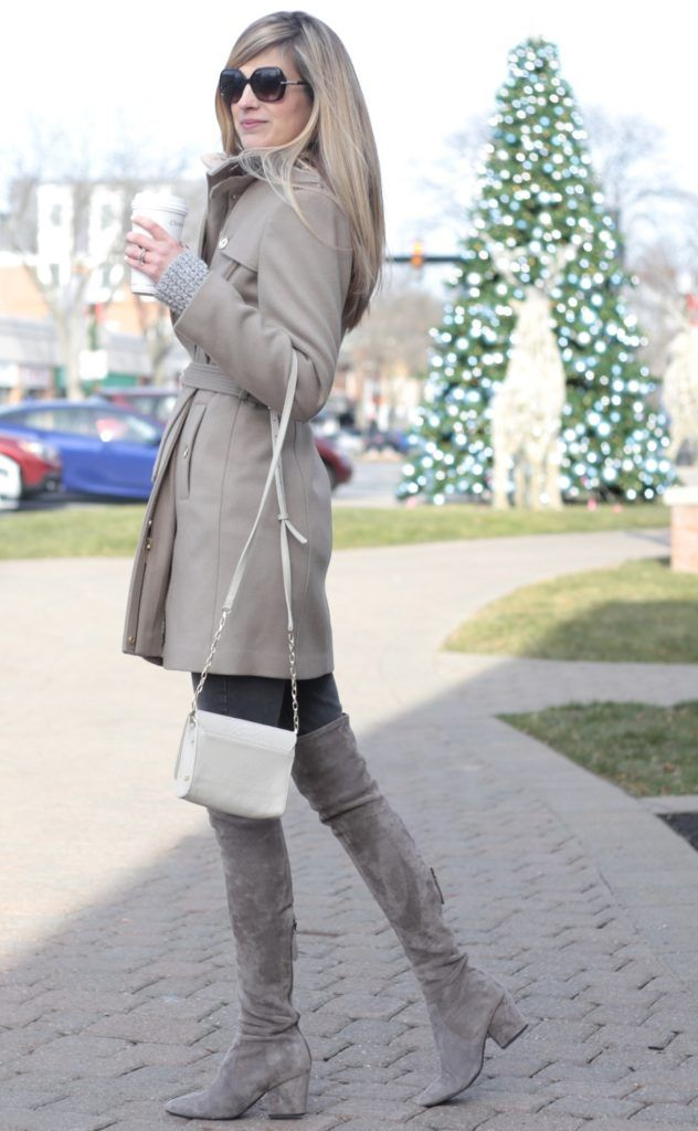 winter outfit: michael kors wool blend neutral women's winter belted trench coat on sale under $200 with suede over the knee boots