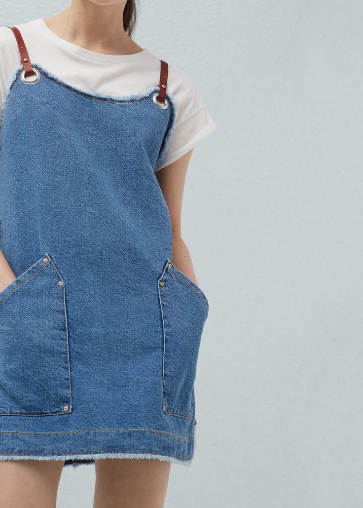 Vestido denim bolsillos -  Mujer | MANGO España