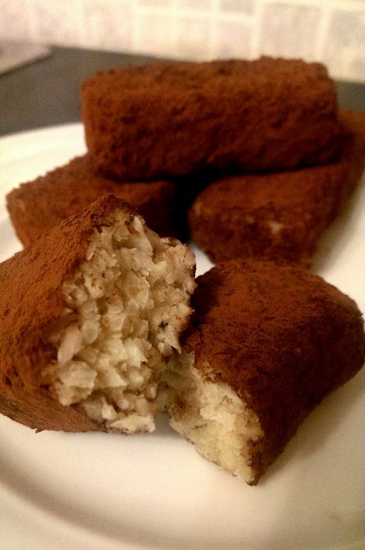 Fresh coconut & date Bounty Bars from Chickpea Girl - 122 Cals each