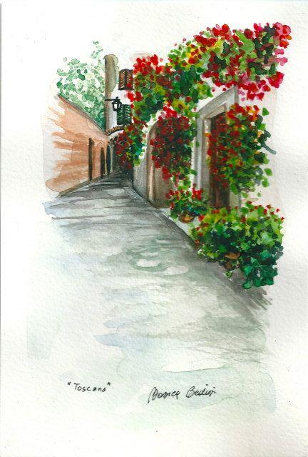 ART Painting Original Watercolor Landscape by ArtistaToscana, $58.00