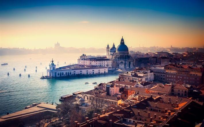Lataa kuva Venetsia, aamulla, sunrise, sumu, Italia, San Giorgio Maggiore