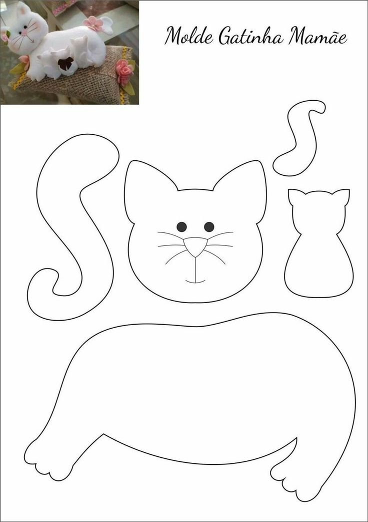 Макета, шаблоны котиков из фетра