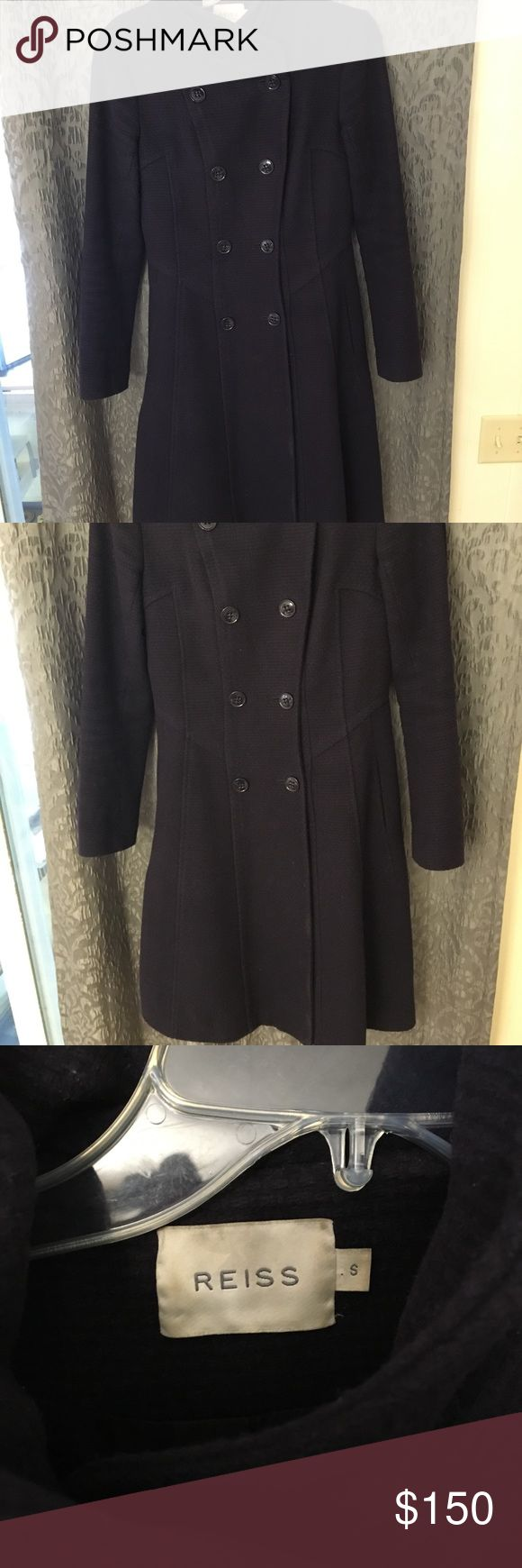 Reiss knee length women's dress coat small Such a flattering winter dress coat. Fit and flare style, size small. Does have discoloration on the inside liner but outside is in excellent shape. Reiss Jackets & Coats Pea Coats