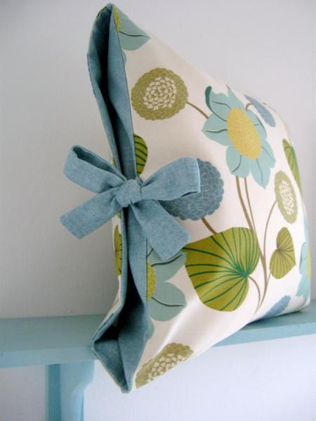 Lillyblossom Contrast Tied Cushion Cover -- I'm going to do this for throw pillows but also pillow cases for bed pillows.  My pillow cases always come off and it annoys me to no end.