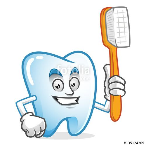 """Download the royalty-free vector """"tooth mascot holding toothbrush, tooth character, tooth cartoon vector """" designed by IronVector at the lowest price on Fotolia.com. Browse our cheap image bank online to find the perfect stock vector for your marketing projects!"""