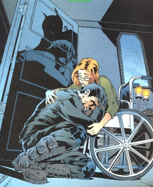 """These two are so adorable!! I love how it is Dick and Babs/Oracle sitting on the ground, and the shadows are Nightwing and Batgirl!"" (via http://panel-it.tumblr.com/post/22977089153/sablelighter-these-two-are-so-adorable-i )"