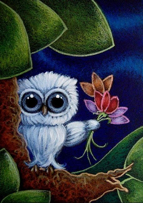 TINY BABY BLUE OWL WITH FLOWERS - GOOD MORNING TEACHER - by Cyra R. Cancel from