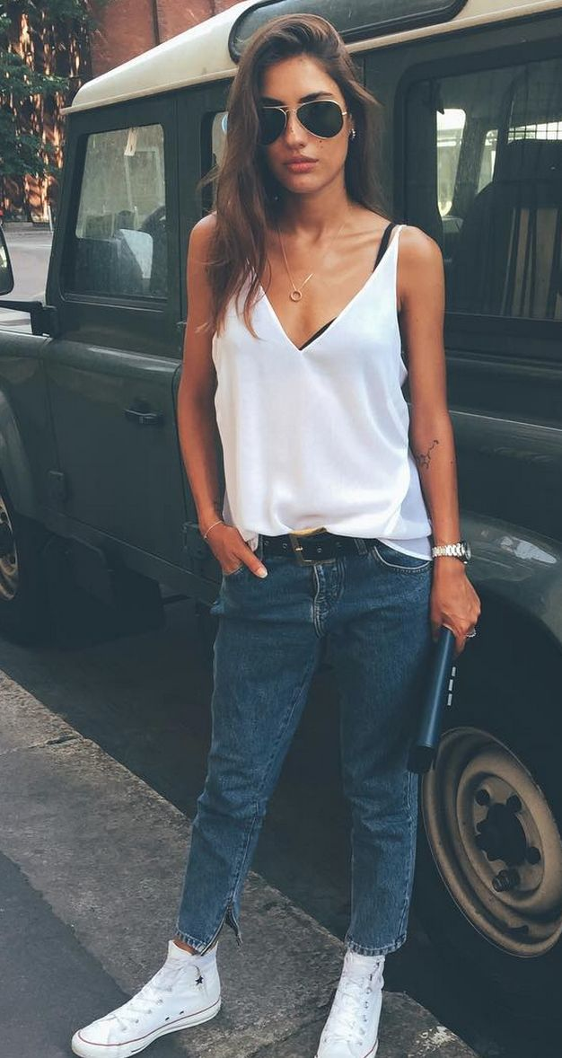 Patricia Manfield in her J BRAND Lucy Camisole in White.