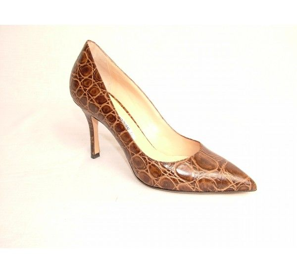 "Luciano Padovan moc croc brown court shoe with approx 3.5""  heel and leather sole. Made in Italy. £320"
