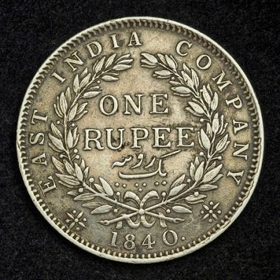 Indian coins collection, British India coins, East India Company - one Rupee  Silver Coin of 1840