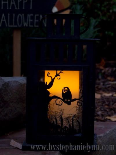 Under The Table and Dreaming: Vinyl Dressed Lanterns {monogrammed, spooky or plain customized fun}