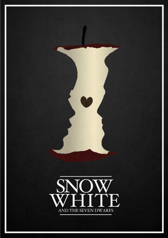 "Minimalist Disney Posters by Rowan Stocks-Moore - ""Snow White and the seven dwarfs"" via dailyinspiration.nl"