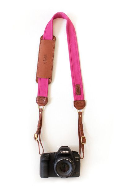 Custom monogram bright pink camera strap. What a cute gift for a photographer!