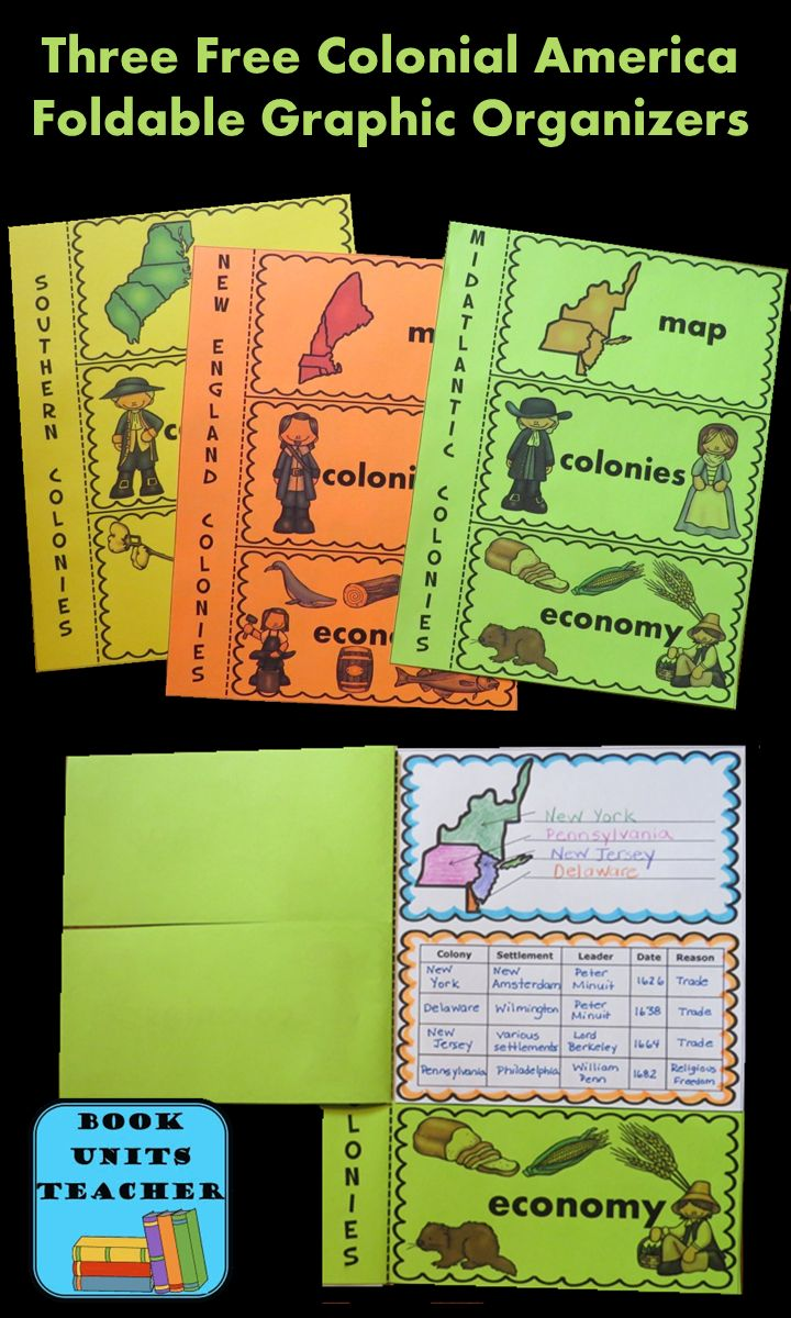 These FREE foldable Colonial America graphic organizers will be a hit with your students.