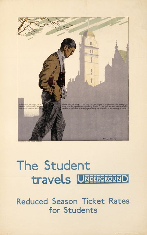 The Student Travels Underground - London Underground, 1930, Charles Pears