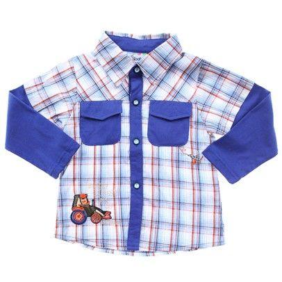 boys long sleeve cowboy blue button up shirt Top-Sn-Aj501-C-Blubroche-SN-AJ501-C-BluBroChe $15.00 on Ozsale.com.au